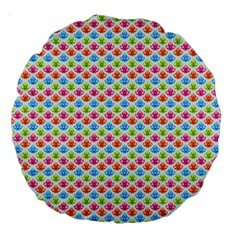 Colorful Floral Seamless Red Blue Green Pink Large 18  Premium Round Cushions