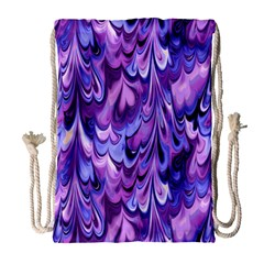 Purple Marble  Drawstring Bag (large) by KirstenStar