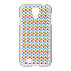 Colorful Floral Seamless Red Blue Green Pink Samsung Galaxy S4 I9500/ I9505 Case (white)