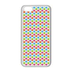 Colorful Floral Seamless Red Blue Green Pink Apple Iphone 5c Seamless Case (white) by Alisyart