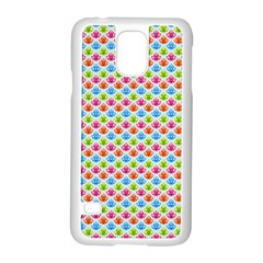 Colorful Floral Seamless Red Blue Green Pink Samsung Galaxy S5 Case (white)