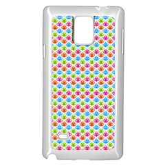 Colorful Floral Seamless Red Blue Green Pink Samsung Galaxy Note 4 Case (white)
