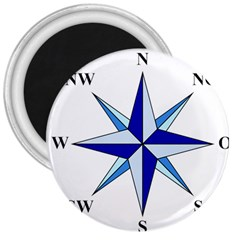 Compass Blue Star 3  Magnets by Alisyart