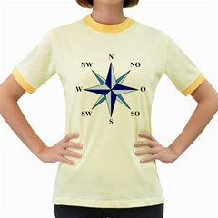 Compass Blue Star Women s Fitted Ringer T Shirts