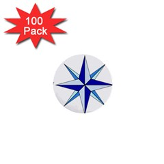 Compass Blue Star 1  Mini Buttons (100 Pack)  by Alisyart