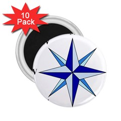 Compass Blue Star 2 25  Magnets (10 Pack)  by Alisyart