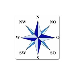 Compass Blue Star Square Magnet by Alisyart
