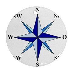 Compass Blue Star Round Ornament (two Sides) by Alisyart