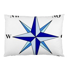Compass Blue Star Pillow Case (two Sides) by Alisyart