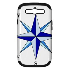 Compass Blue Star Samsung Galaxy S Iii Hardshell Case (pc+silicone) by Alisyart