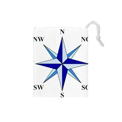 Compass Blue Star Drawstring Pouches (small)