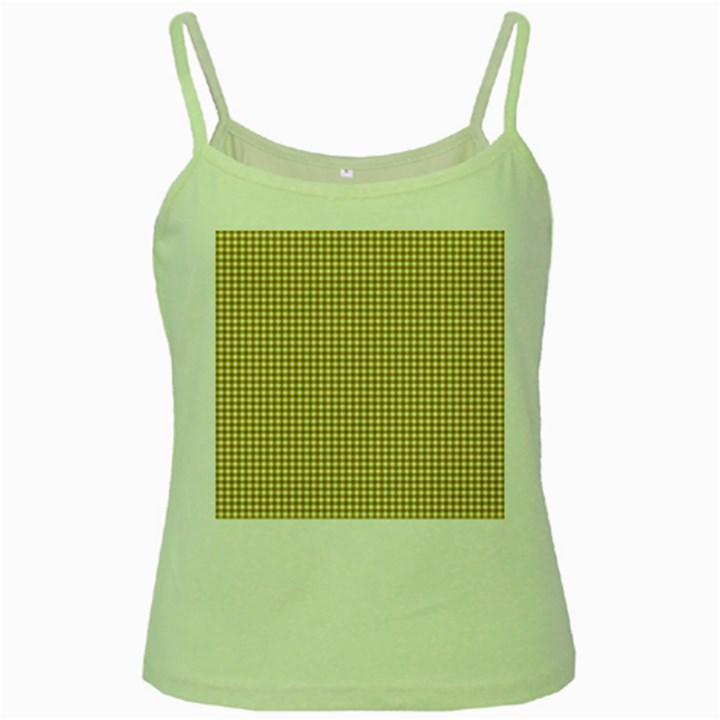 Golden Yellow Tablecloth Plaid Line Green Spaghetti Tank