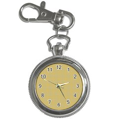 Golden Yellow Tablecloth Plaid Line Key Chain Watches by Alisyart
