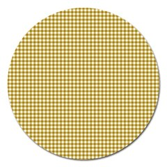 Golden Yellow Tablecloth Plaid Line Magnet 5  (round)