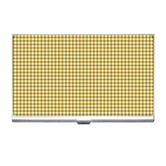 Golden Yellow Tablecloth Plaid Line Business Card Holders by Alisyart