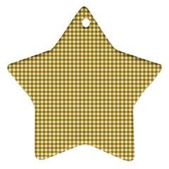 Golden Yellow Tablecloth Plaid Line Star Ornament (two Sides) by Alisyart