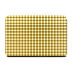 Golden Yellow Tablecloth Plaid Line Small Doormat  by Alisyart