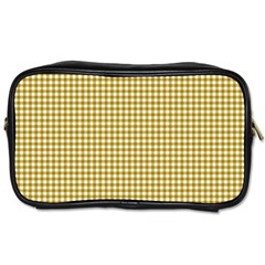Golden Yellow Tablecloth Plaid Line Toiletries Bags 2 Side by Alisyart
