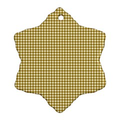 Golden Yellow Tablecloth Plaid Line Ornament (snowflake) by Alisyart