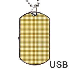 Golden Yellow Tablecloth Plaid Line Dog Tag Usb Flash (two Sides)