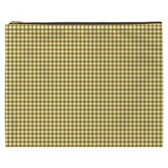 Golden Yellow Tablecloth Plaid Line Cosmetic Bag (xxxl)  by Alisyart