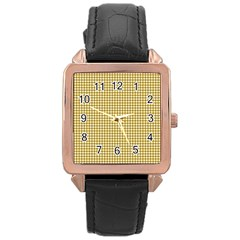 Golden Yellow Tablecloth Plaid Line Rose Gold Leather Watch  by Alisyart