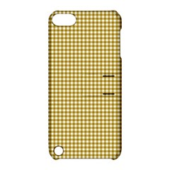 Golden Yellow Tablecloth Plaid Line Apple Ipod Touch 5 Hardshell Case With Stand