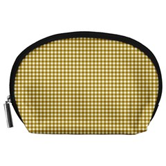 Golden Yellow Tablecloth Plaid Line Accessory Pouches (large)