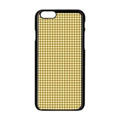 Golden Yellow Tablecloth Plaid Line Apple Iphone 6/6s Black Enamel Case by Alisyart