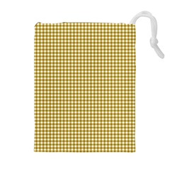 Golden Yellow Tablecloth Plaid Line Drawstring Pouches (extra Large) by Alisyart