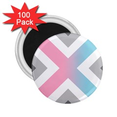 Flag X Blue Pink Grey White Chevron 2 25  Magnets (100 Pack)
