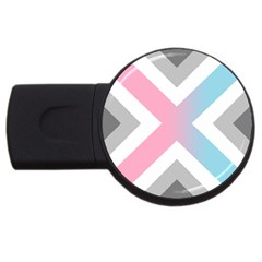 Flag X Blue Pink Grey White Chevron Usb Flash Drive Round (2 Gb)