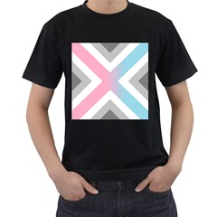 Flag X Blue Pink Grey White Chevron Men s T Shirt (black) (two Sided) by Alisyart