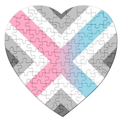 Flag X Blue Pink Grey White Chevron Jigsaw Puzzle (heart)