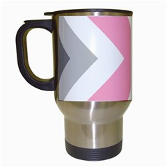 Flag X Blue Pink Grey White Chevron Travel Mugs (white)