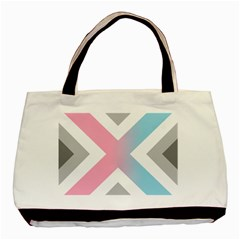 Flag X Blue Pink Grey White Chevron Basic Tote Bag (two Sides) by Alisyart