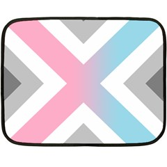 Flag X Blue Pink Grey White Chevron Fleece Blanket (mini) by Alisyart