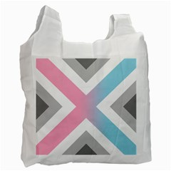 Flag X Blue Pink Grey White Chevron Recycle Bag (one Side) by Alisyart