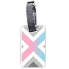 Flag X Blue Pink Grey White Chevron Luggage Tags (one Side)  by Alisyart