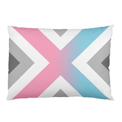 Flag X Blue Pink Grey White Chevron Pillow Case (two Sides) by Alisyart