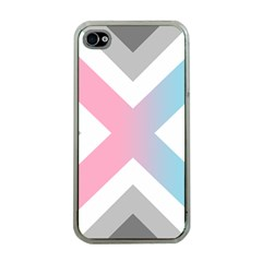 Flag X Blue Pink Grey White Chevron Apple Iphone 4 Case (clear)