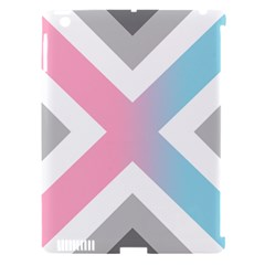 Flag X Blue Pink Grey White Chevron Apple Ipad 3/4 Hardshell Case (compatible With Smart Cover)