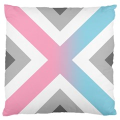 Flag X Blue Pink Grey White Chevron Large Cushion Case (two Sides) by Alisyart