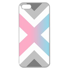 Flag X Blue Pink Grey White Chevron Apple Seamless Iphone 5 Case (clear) by Alisyart