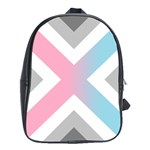 Flag X Blue Pink Grey White Chevron School Bags (XL)  Front