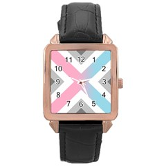 Flag X Blue Pink Grey White Chevron Rose Gold Leather Watch  by Alisyart