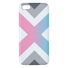 Flag X Blue Pink Grey White Chevron Apple Iphone 5 Premium Hardshell Case