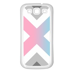 Flag X Blue Pink Grey White Chevron Samsung Galaxy S3 Back Case (white) by Alisyart