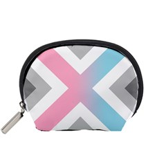 Flag X Blue Pink Grey White Chevron Accessory Pouches (small)  by Alisyart