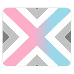 Flag X Blue Pink Grey White Chevron Double Sided Flano Blanket (small)  by Alisyart